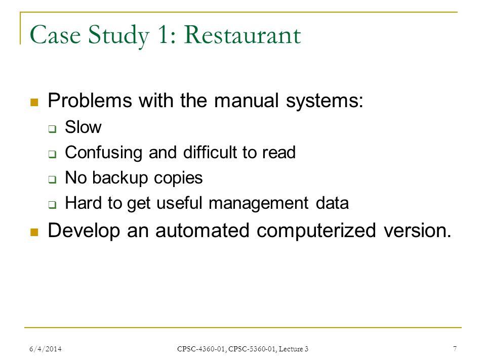 Case Study 1: Restaurant