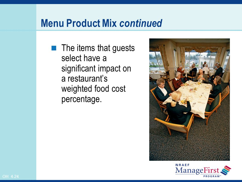 Menu Product Mix continued
