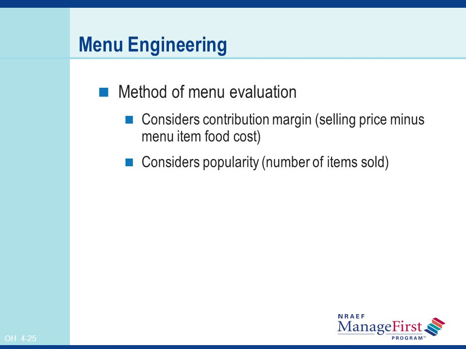 Menu Engineering Method of menu evaluation
