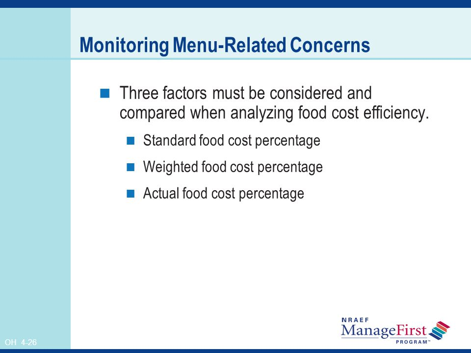 Monitoring Menu-Related Concerns
