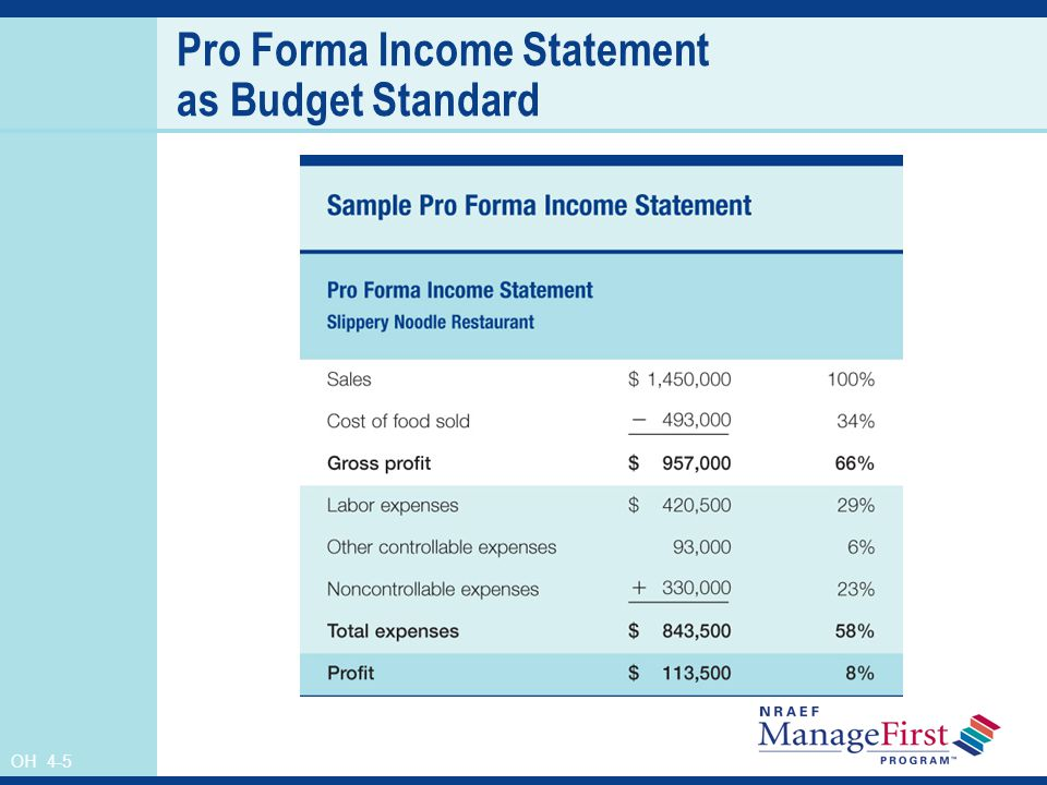 Pro Forma Income Statement as Budget Standard