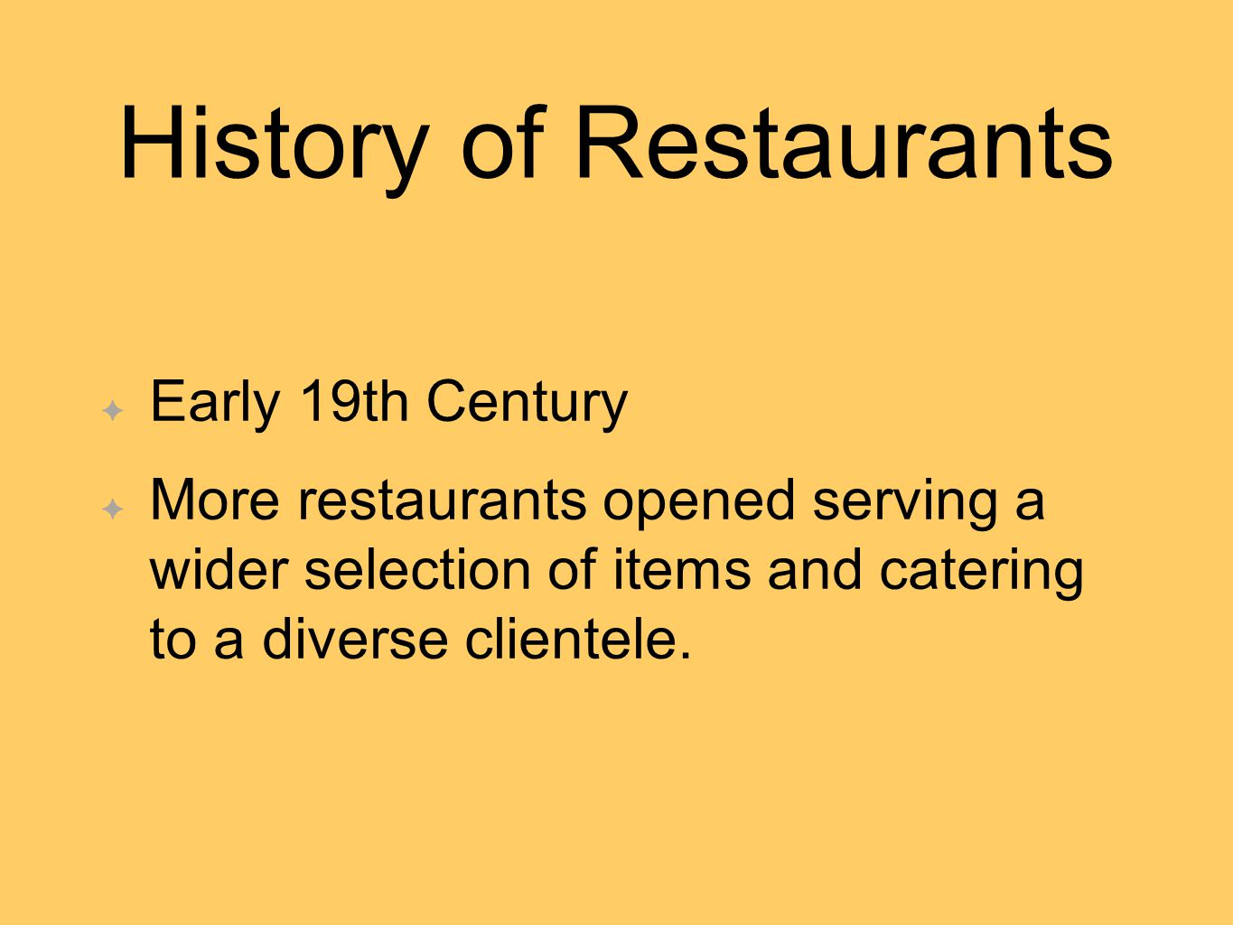 History of Restaurants