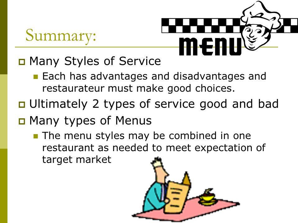 Summary: Many Styles of Service