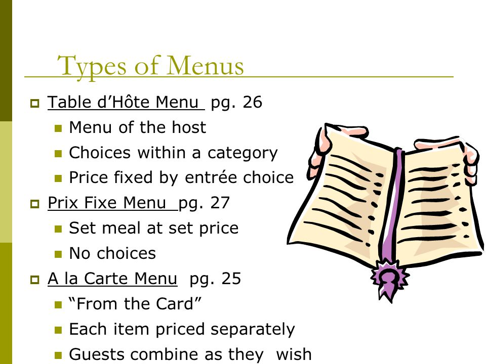 Types of Menus Table d'Hôte Menu pg. 26 Menu of the host