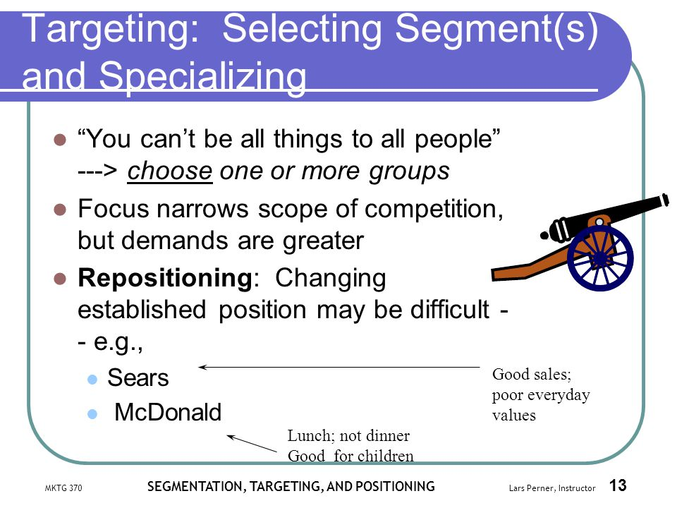 Targeting: Selecting Segment(s) and Specializing