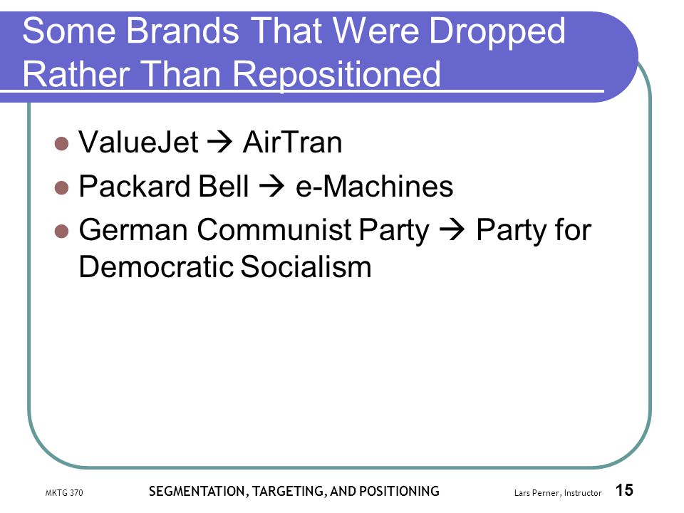 Some Brands That Were Dropped Rather Than Repositioned