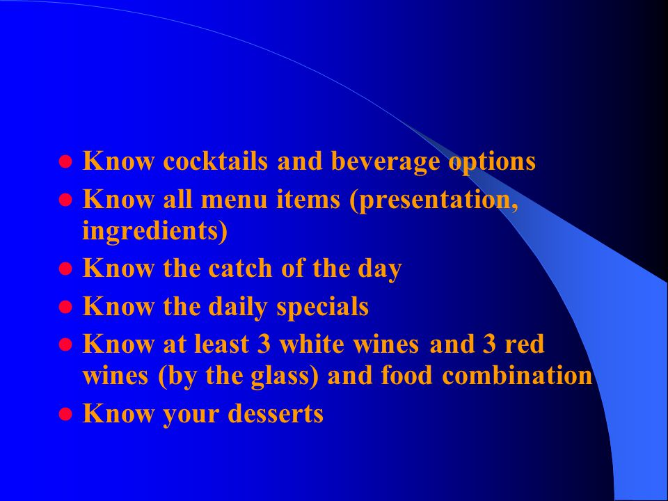 Know cocktails and beverage options