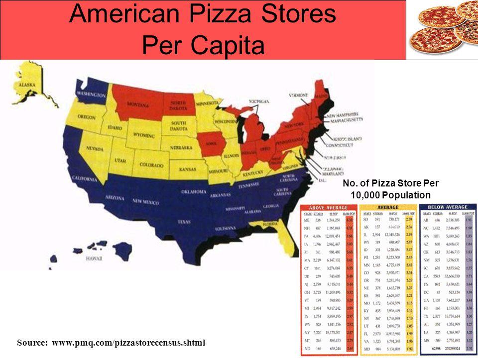 American Pizza Stores Per Capita