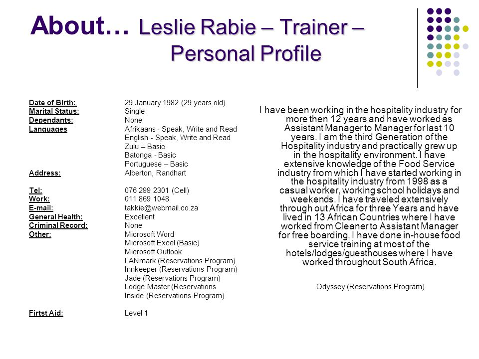 About… Leslie Rabie – Trainer – Personal Profile