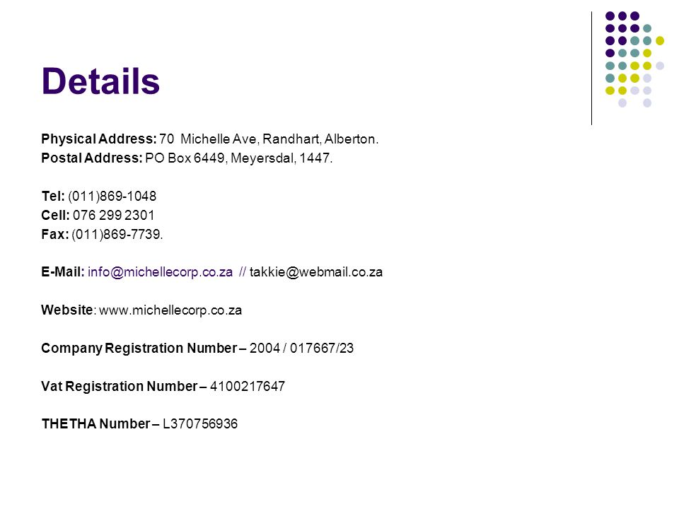Details Physical Address: 70 Michelle Ave, Randhart, Alberton.