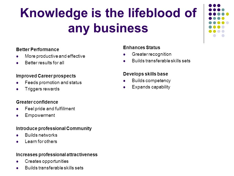 Knowledge is the lifeblood of any business