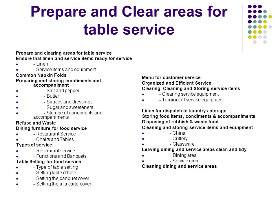 Prepare and Clear areas for table service