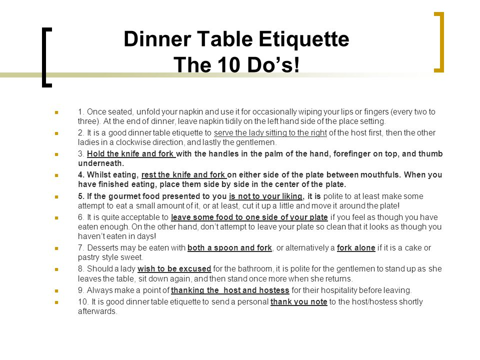 Dinner Table Etiquette The 10 Do's!