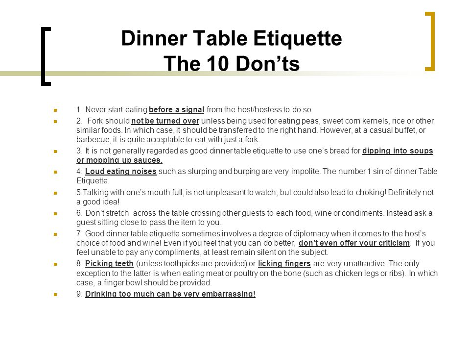 Dinner Table Etiquette The 10 Don'ts