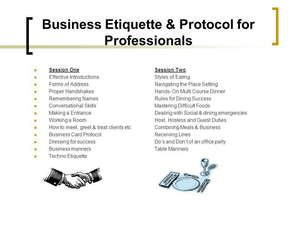 Business Etiquette & Protocol for Professionals