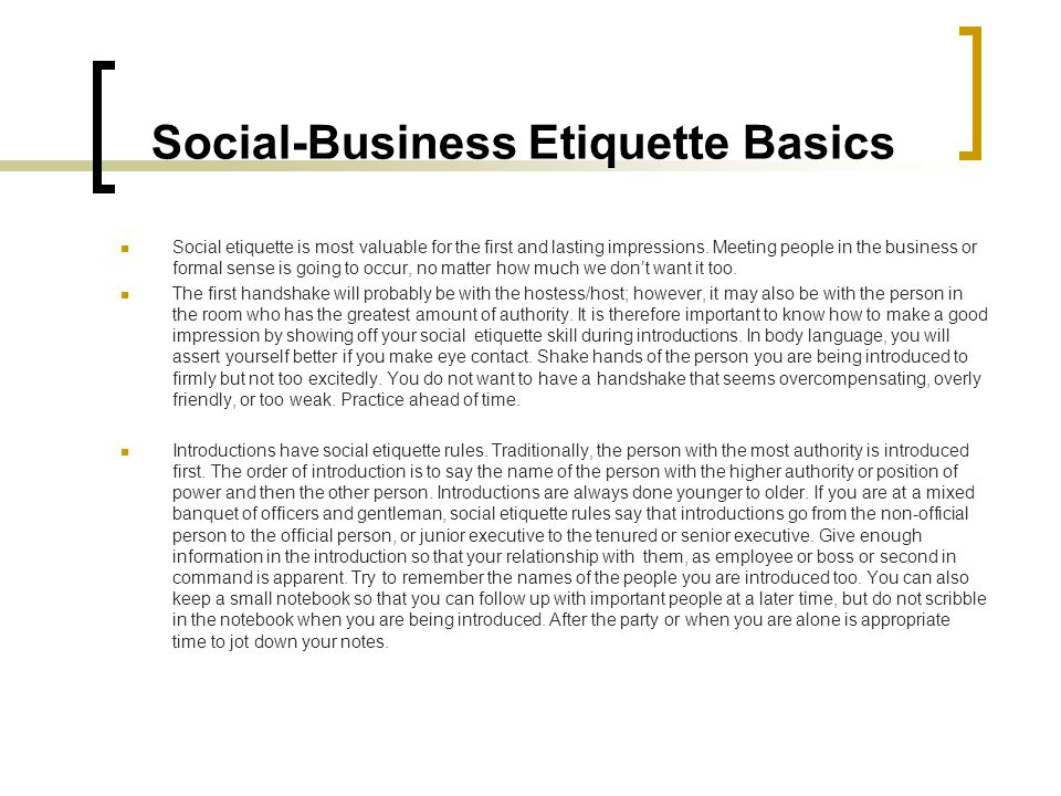 Social-Business Etiquette Basics