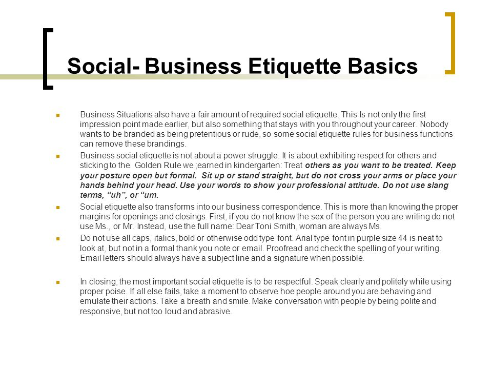 Social- Business Etiquette Basics