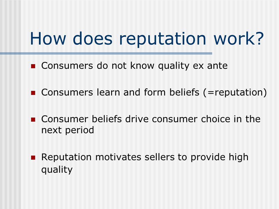 How does reputation work