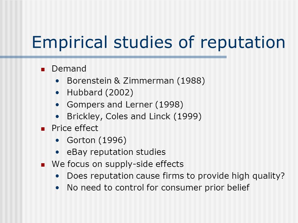 Empirical studies of reputation