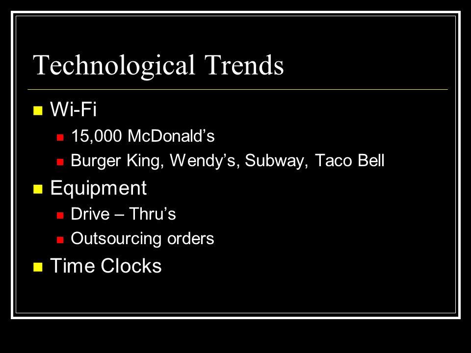 Technological Trends Wi-Fi Equipment Time Clocks 15,000 McDonald's