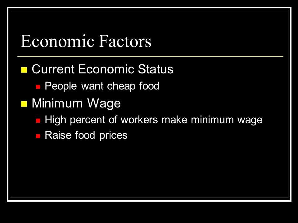 Economic Factors Current Economic Status Minimum Wage