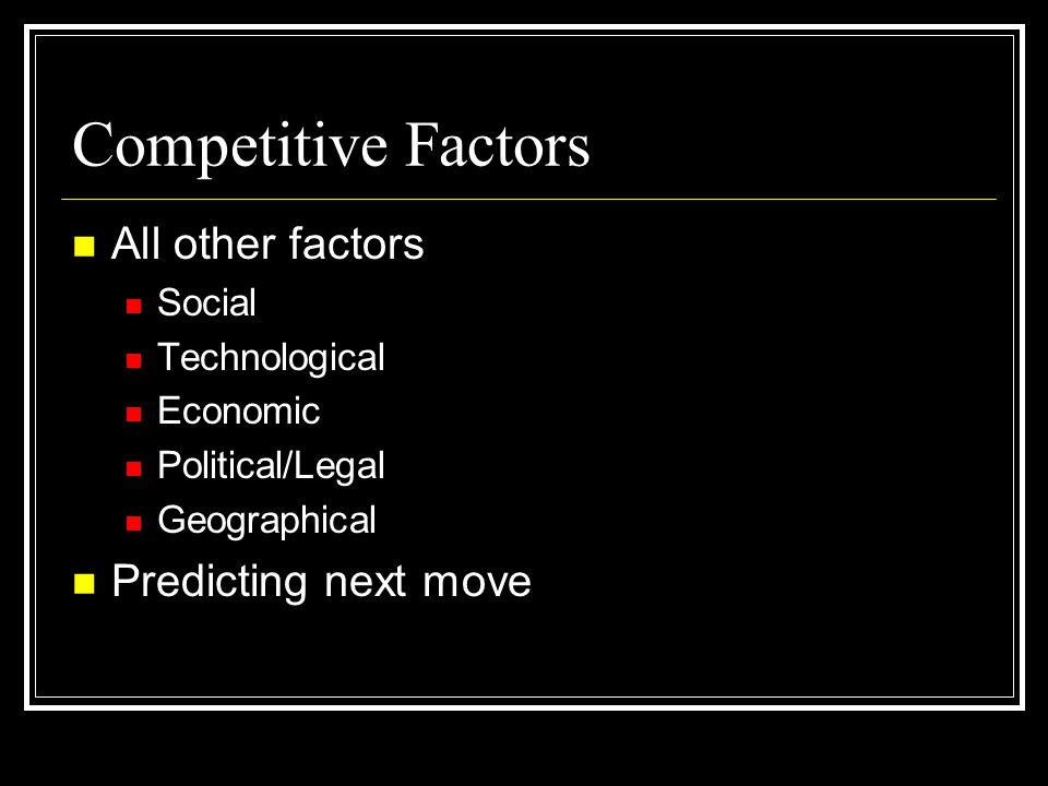 Competitive Factors All other factors Predicting next move Social