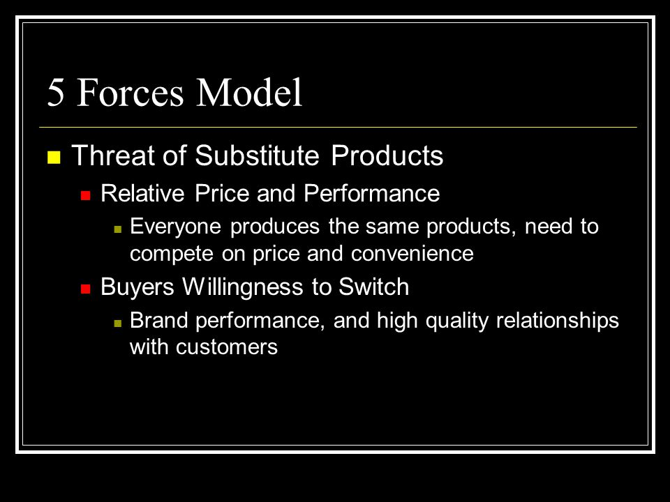 5 Forces Model Threat of Substitute Products