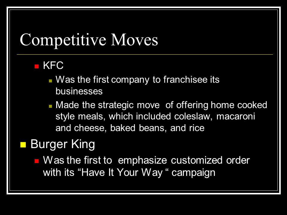 Competitive Moves Burger King KFC