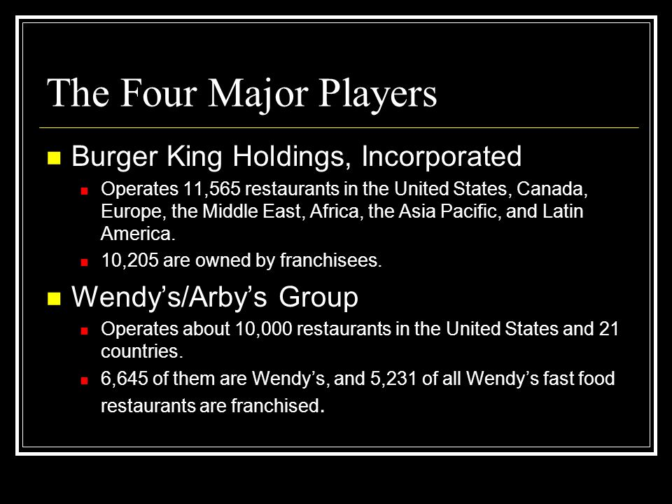 The Four Major Players Burger King Holdings, Incorporated