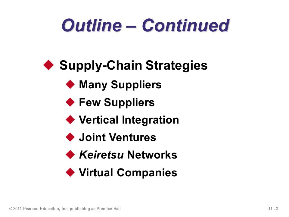 Outline – Continued Supply-Chain Strategies Many Suppliers
