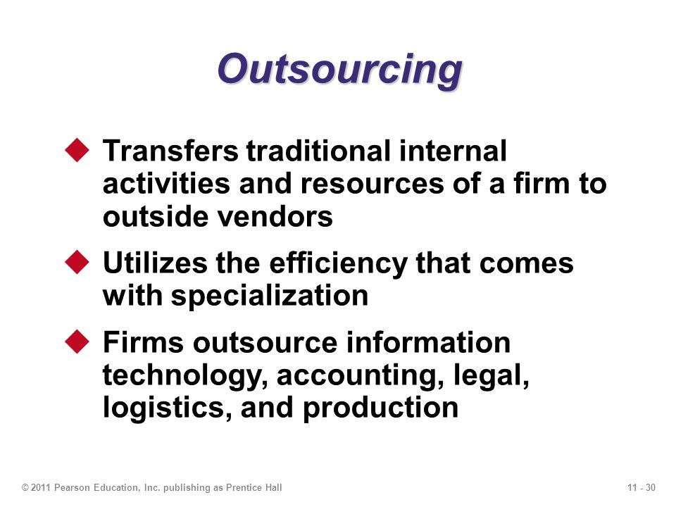 Outsourcing Transfers traditional internal activities and resources of a firm to outside vendors.