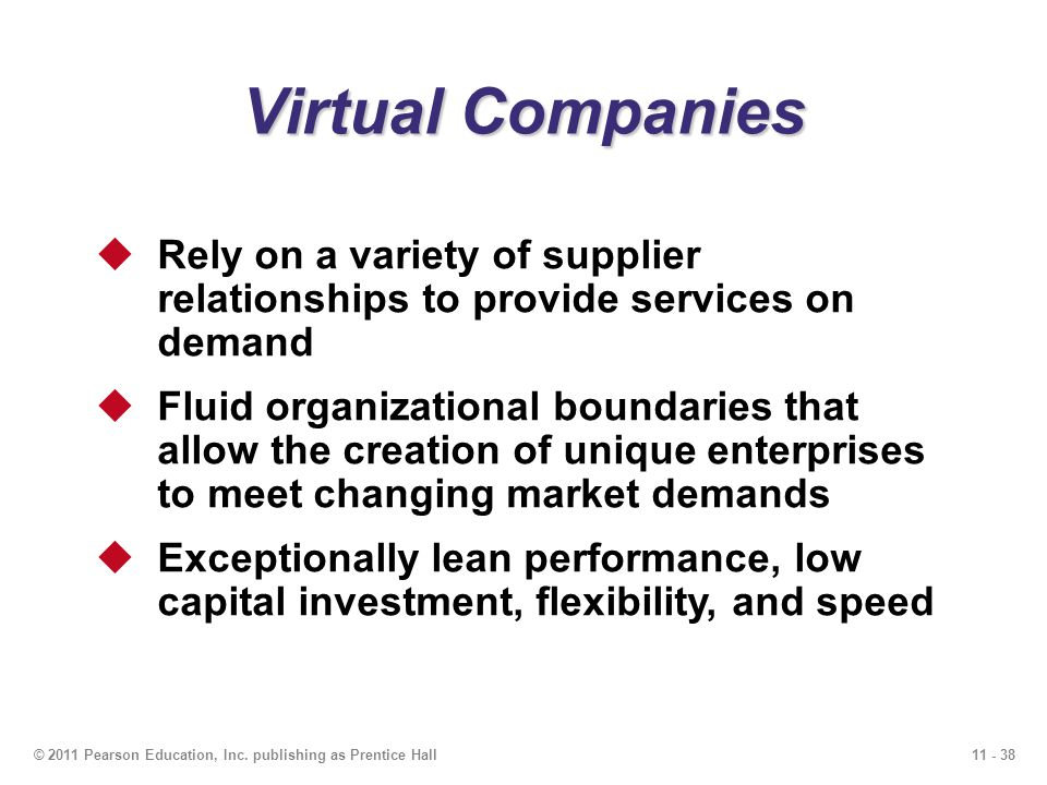 Virtual Companies Rely on a variety of supplier relationships to provide services on demand.