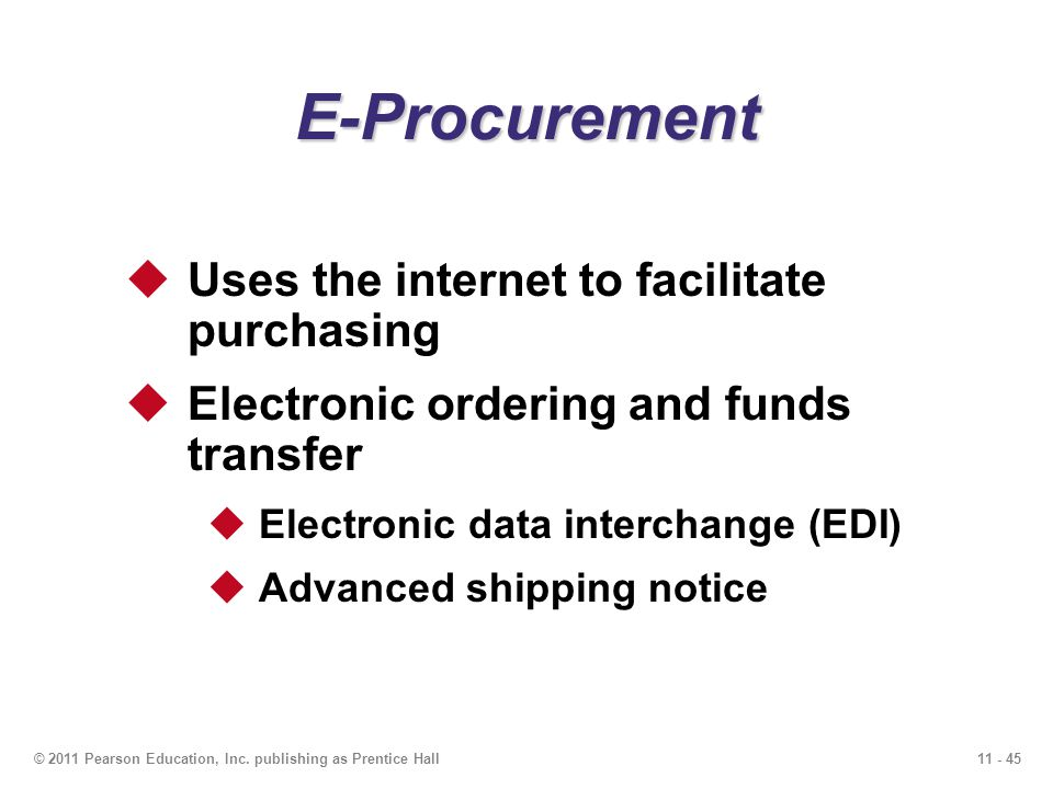 E-Procurement Uses the internet to facilitate purchasing