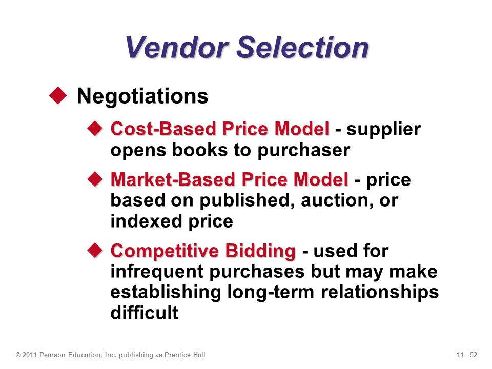 Vendor Selection Negotiations