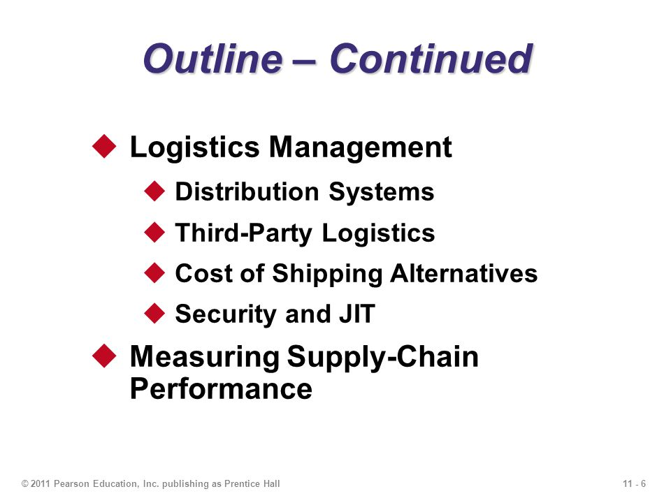 Outline – Continued Logistics Management