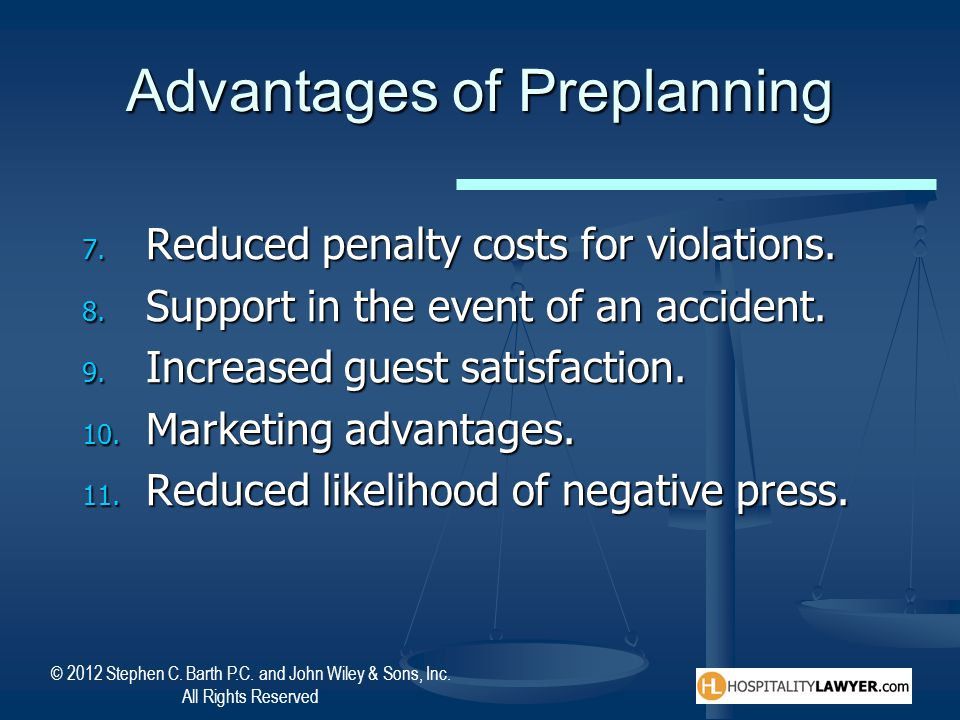 Advantages of Preplanning