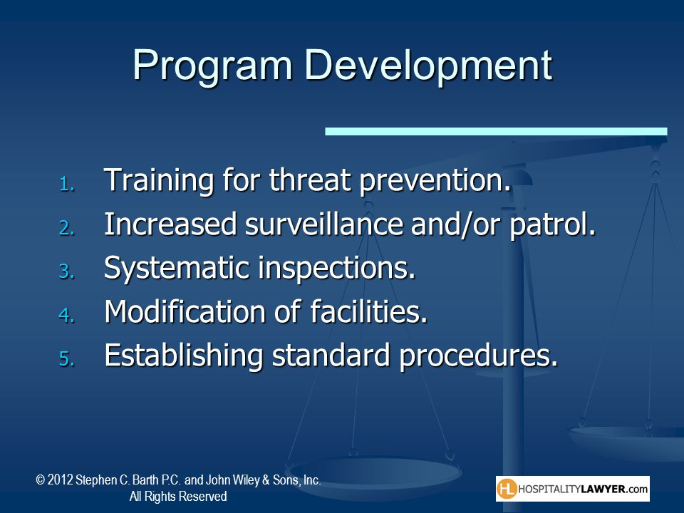 Program Development Training for threat prevention.