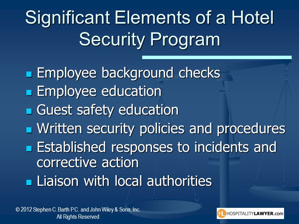 Significant Elements of a Hotel Security Program