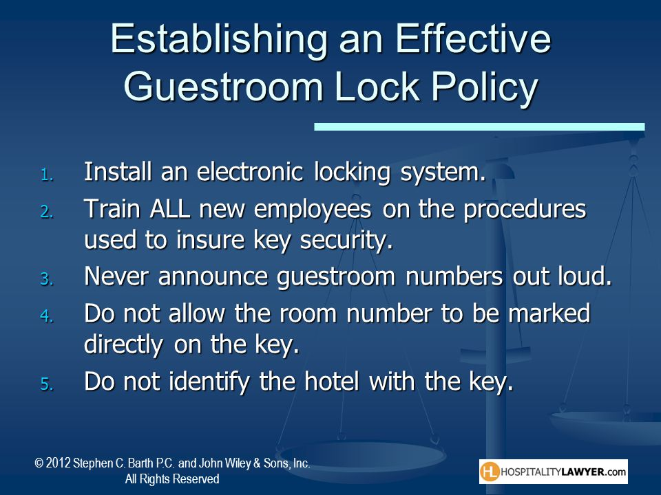 Establishing an Effective Guestroom Lock Policy