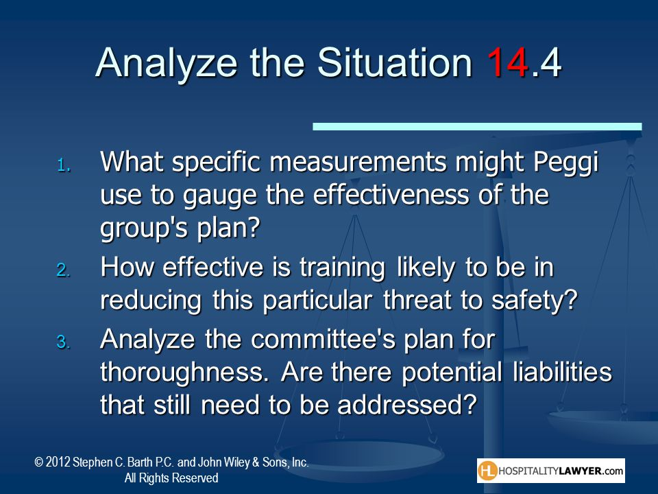 Analyze the Situation 14.4 What specific measurements might Peggi use to gauge the effectiveness of the group s plan