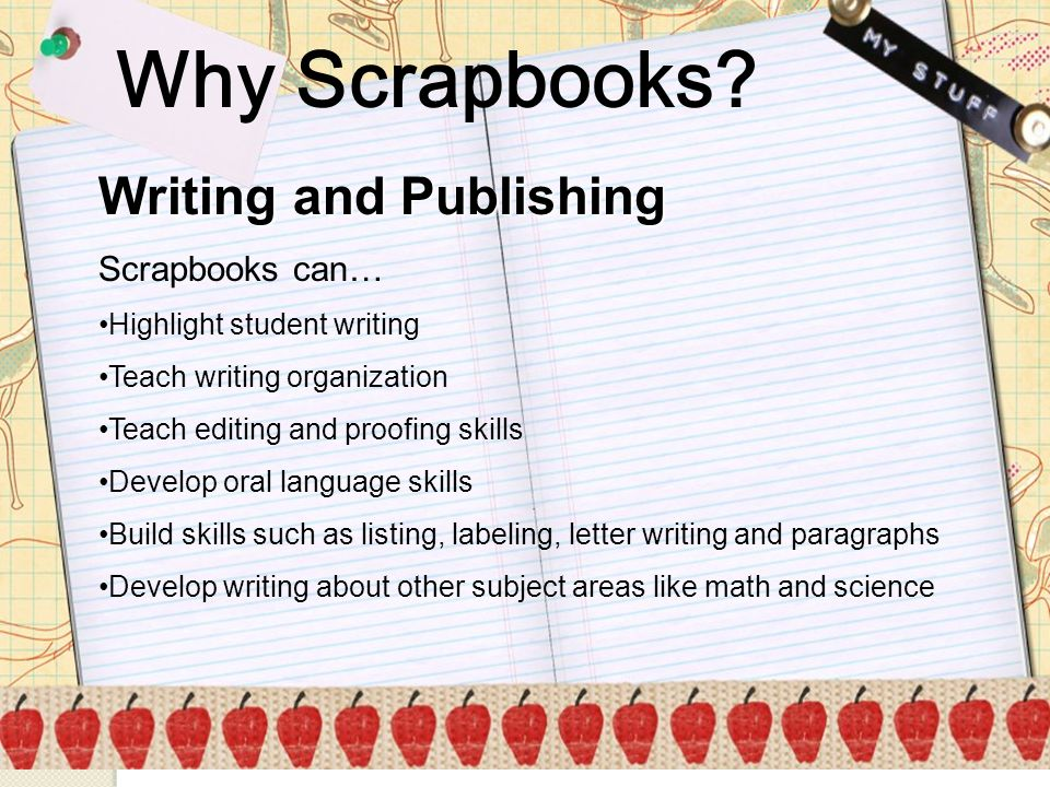Why Scrapbooks Writing and Publishing Scrapbooks can…
