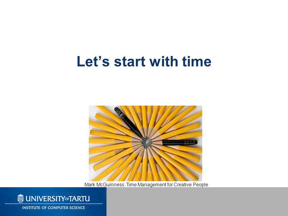 Let's start with time Mark McGuinness: Time Management for Creative People