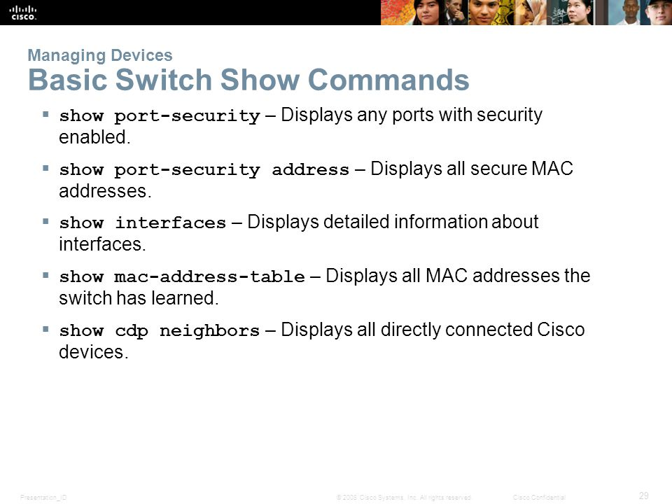 Managing Devices Basic Switch Show Commands