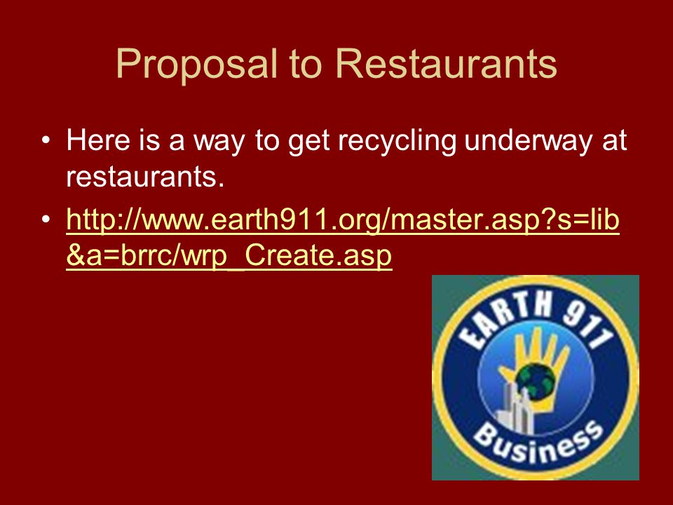 Proposal to Restaurants