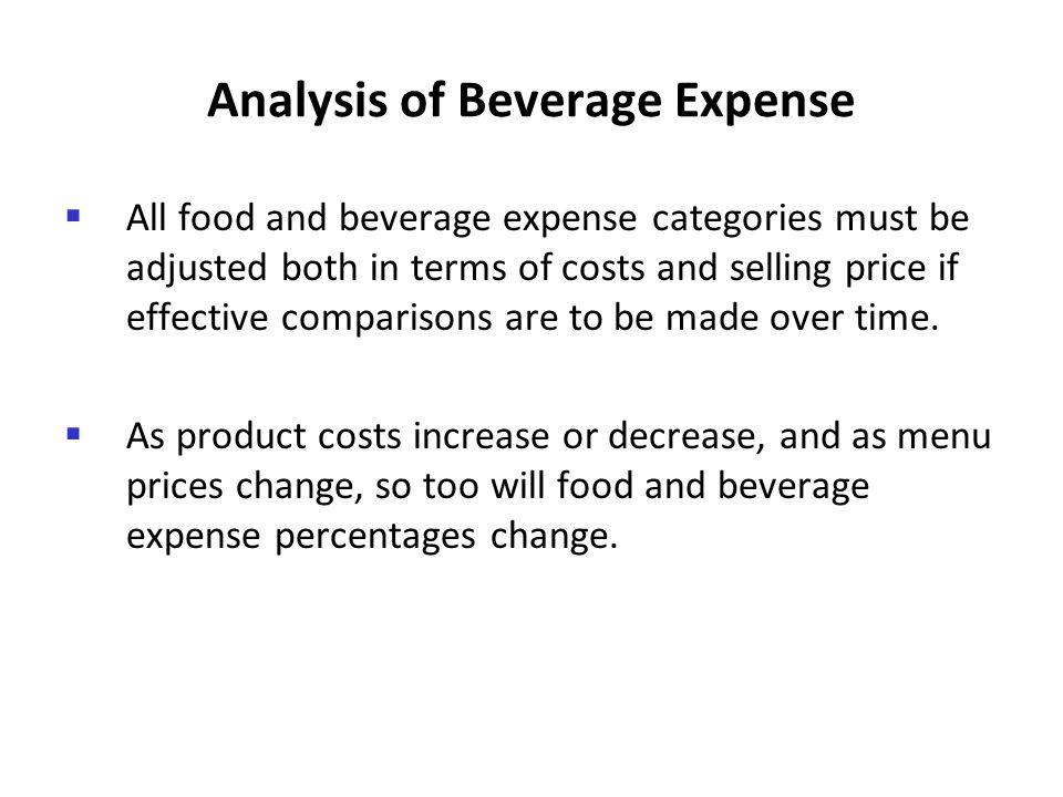 Analysis of Beverage Expense