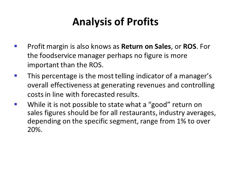 Analysis of Profits