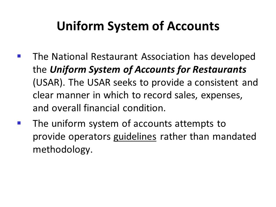 Uniform System of Accounts
