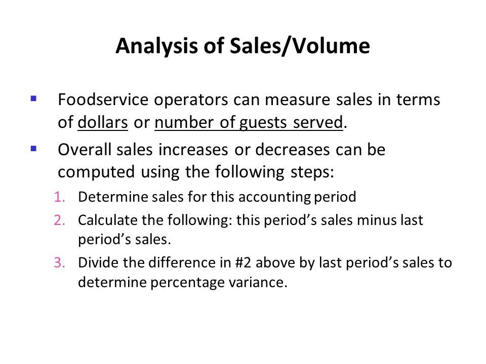 Analysis of Sales/Volume