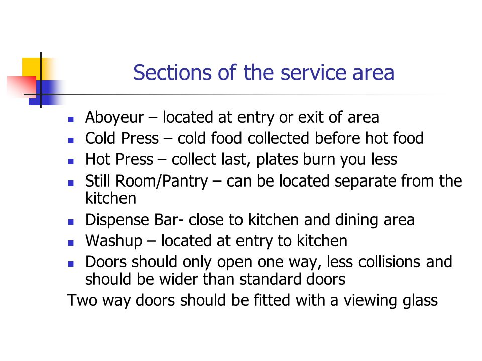 Sections of the service area
