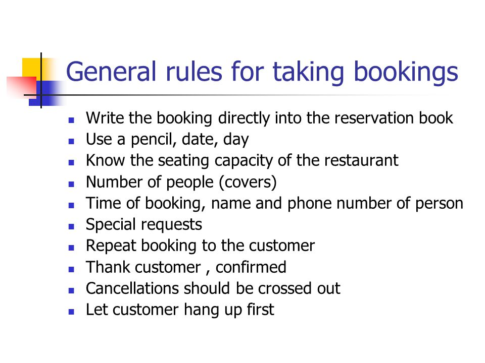 General rules for taking bookings